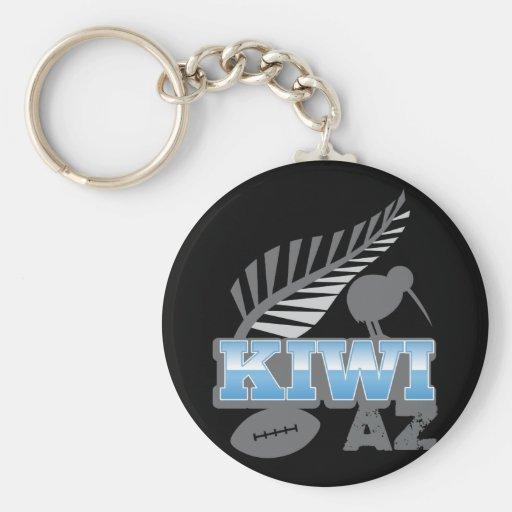 KIWI AZ rugby bird and silver fern New Zealand Key Chains