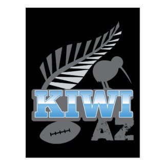 KIWI AZ rugby bird and silver fern New Zealand Postcard