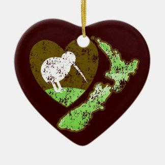 Kiwi bird NEW ZEALAND with a love heart Ceramic Ornament