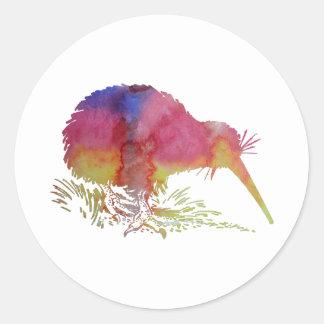 Kiwi bird round sticker