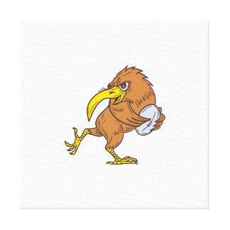 Kiwi Bird Running Rugby Ball Drawing Canvas Print