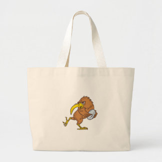 Kiwi Bird Running Rugby Ball Drawing Large Tote Bag