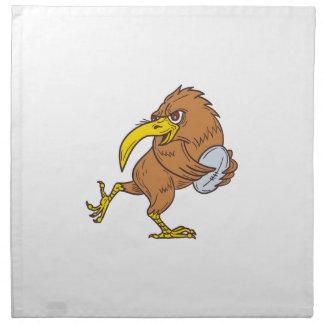 Kiwi Bird Running Rugby Ball Drawing Napkin