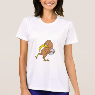 Kiwi Bird Running Rugby Ball Drawing T-Shirt