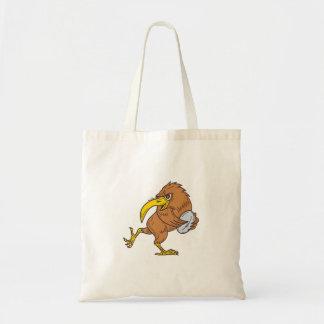 Kiwi Bird Running Rugby Ball Drawing Tote Bag