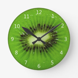 Kiwi Fruit Fresh Slice - Round Wall Clock