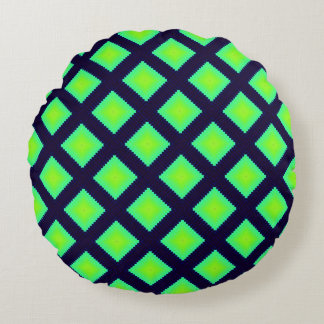 Kiwi Green And Navy Blue  Pattern Round Cushion