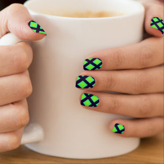Kiwi Green And Navy Blue Plaid  Pattern Minx Nail Art