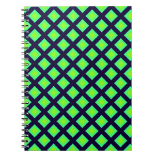 Kiwi Green And Navy Blue Plaid  Pattern Spiral Notebooks