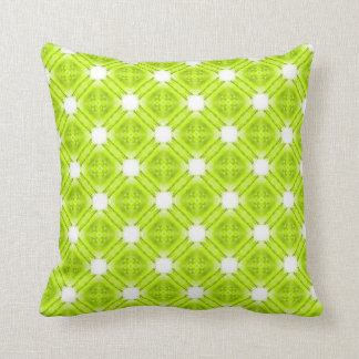 Kiwi Green And White Geometric Cushion