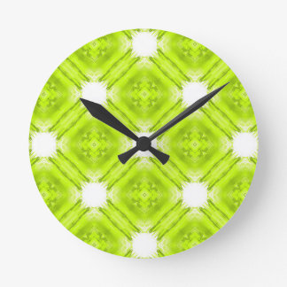 Kiwi Green And White Geometric Round Clock