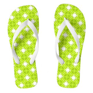 Kiwi Green And White Geometric Thongs