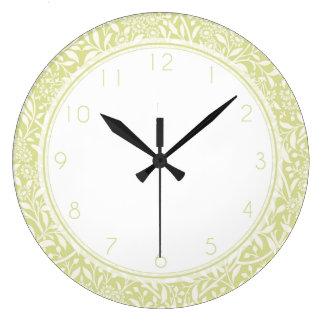 Kiwi Green Floral Damask Pattern Large Clock