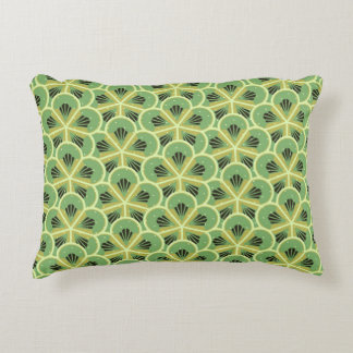 Kiwi Green Floral Pattern Accent Pillow
