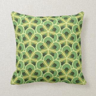 Kiwi Green Floral Pattern Throw Pillow