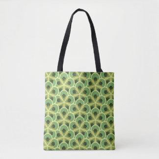 Kiwi Green Floral Pattern Tote Bag