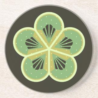 Kiwi Green Flower Round Sandstone Drink Coaster