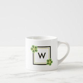 Kiwi Green Geometric Flower Monogram Espresso Mug