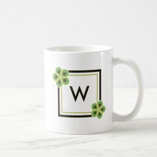 Kiwi Green Geometric Flower Monogram Mug