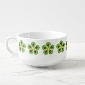 Kiwi Green Geometric Flower Soup Mug