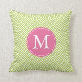 Kiwi Green Pink Greek Key Pattern Monogram Cushion