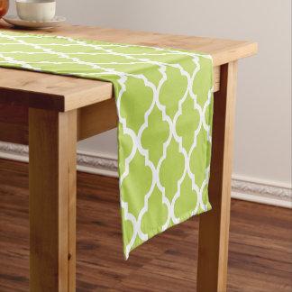 Kiwi Green Quatrefoil Tiles Pattern Short Table Runner