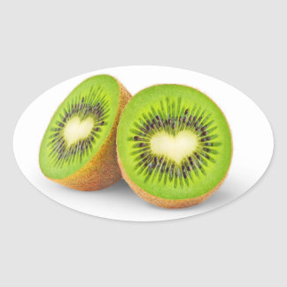 Kiwi hearts oval sticker