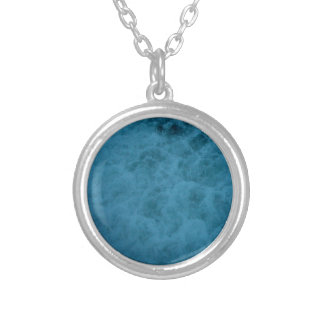 """""""Kiwi Lifestyle"""" - A Touch of Blue Slice#2 Round Pendant Necklace"""