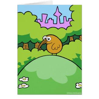 Kiwi on a hill greeting card
