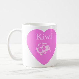 Kiwi pink heart cup basic white mug
