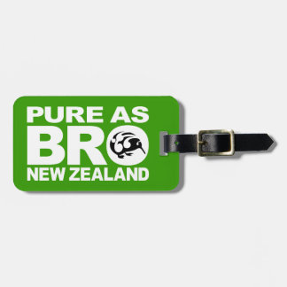 Kiwi,  Pure as bro, New Zealand Luggage Tag