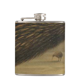 Kiwi Semi-Abstract Hip Flask