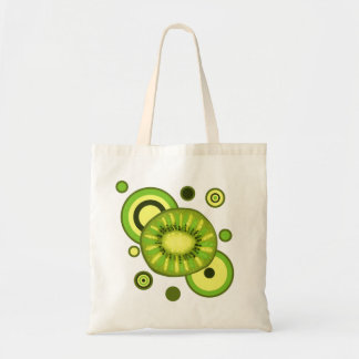 Kiwi Slice Circles Design Tote Bag