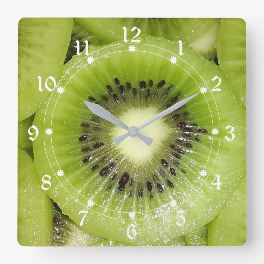 Kiwi Slices Square Wall Clock