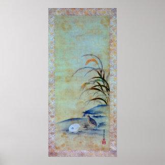 Kiyohara Yukinobo Quail and Millet Poster