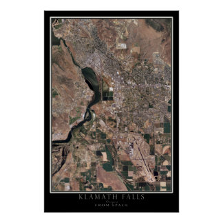Klamath Falls Oregon From Space Satellite Map Poster