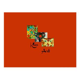 Klee Art - Three Paintings Collage Postcard