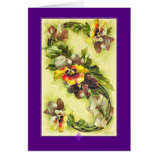 Klein Alphabet Series Blue Yellow Pansies Letter S Card