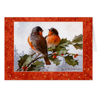 Klein Christmas Robins on Green Holly Red Berries Greeting Card