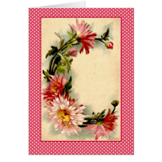 Klein Flower Alphabet Letter D Pink Chrysanthemuns Card
