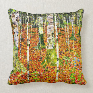Klimt - Birch Forest, painting by Gustav Klimt Cushion