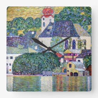 "Klimt, ""Church in Unterach at the Attersee"" Square Wall Clock"
