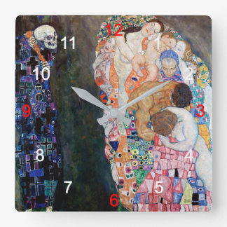 """Klimt, """"Death and Life"""" Square Wall Clock"""