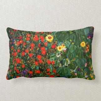 Klimt - Farm Garden with Sunflowers Lumbar Cushion