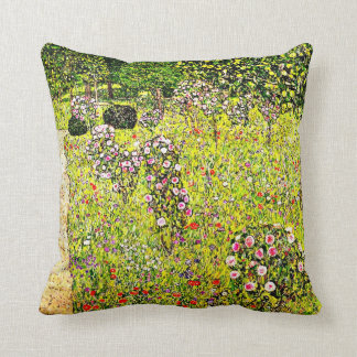Klimt - Fruit Garden with Roses, Gustav Klimt art Cushion