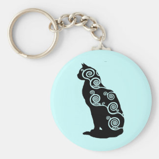 Klimt style cat key ring
