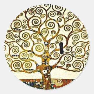Klimt - The Tree of Life, Stoclet Frieze Round Sticker