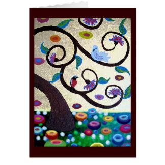 Klimt tree with birds card