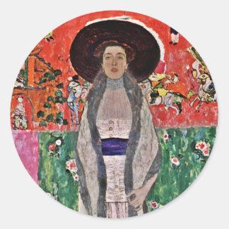 Klimt's Adele Bloch-Bauer in a  Big Hat Classic Round Sticker