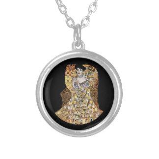 Klimt's Portrait of Adele Bloch-Bauer Silver Plated Necklace